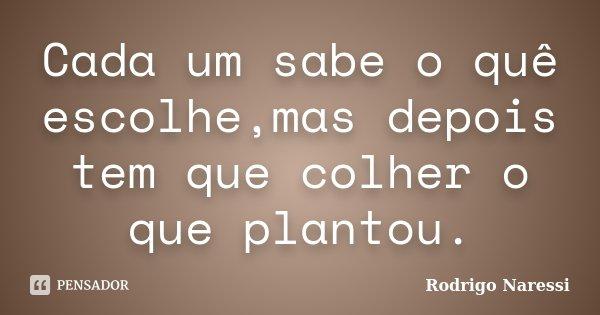 Cada um sabe o quê escolhe,mas depois tem que colher o que plantou.... Frase de Rodrigo Naressi.