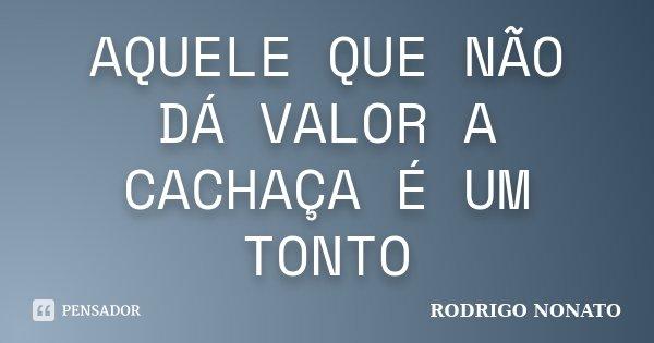 AQUELE QUE NÃO DÁ VALOR A CACHAÇA É UM TONTO... Frase de RODRIGO NONATO.