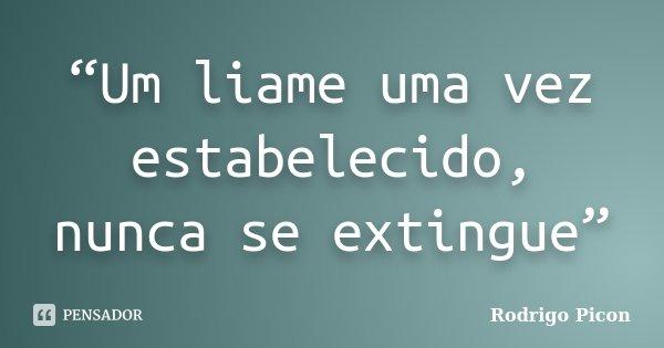 """""""Um liame uma vez estabelecido, nunca se extingue""""... Frase de Rodrigo Picon."""