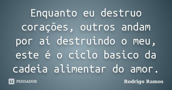 Enquanto eu destruo corações, outros andam por aí destruindo o meu, este é o ciclo basico da cadeia alimentar do amor.... Frase de Rodrigo Ramos.