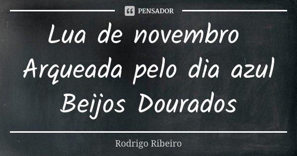 Lua de novembro Arqueada pelo dia azul Beijos Dourados... Frase de Rodrigo Ribeiro.