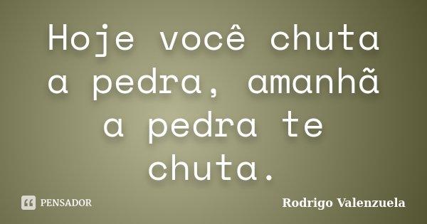 Hoje você chuta a pedra, amanhã a pedra te chuta.... Frase de Rodrigo Valenzuela.