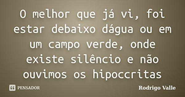 O melhor que já vi, foi estar debaixo dágua ou em um campo verde, onde existe silêncio e não ouvimos os hipoccritas... Frase de Rodrigo Valle.