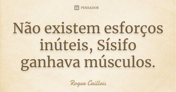 Não existem esforços inúteis, Sísifo ganhava músculos.... Frase de Roger Caillois.