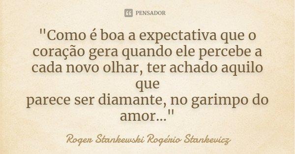 """""""Como é boa a expectativa que o coração gera quando ele percebe a cada novo olhar, ter achado aquilo que parece ser diamante, no garimpo do amor...""""... Frase de Roger Stankewski - Rogério Stankevicz."""