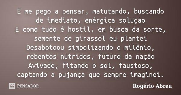 E me pego a pensar, matutando, buscando de imediato, enérgica solução E como tudo é hostil, em busca da sorte, semente de girassol eu plantei Desabotoou simboli... Frase de Rogério Abreu.