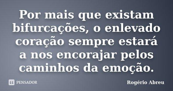 Por mais que existam bifurcações, o enlevado coração sempre estará a nos encorajar pelos caminhos da emoção.... Frase de Rogério Abreu.