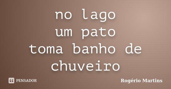 no lago um pato toma banho de chuveiro... Frase de Rogério Martins.