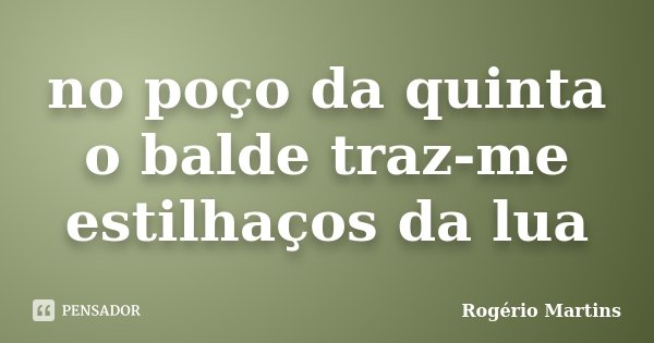 no poço da quinta o balde traz-me estilhaços da lua... Frase de Rogério Martins.