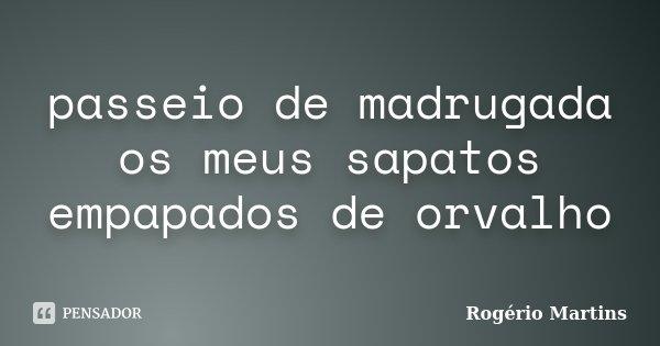 passeio de madrugada os meus sapatos empapados de orvalho... Frase de Rogério Martins.