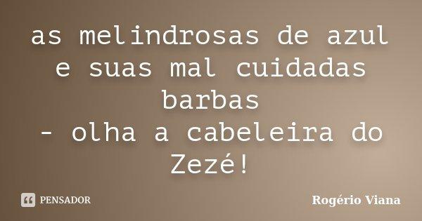 as melindrosas de azul e suas mal cuidadas barbas - olha a cabeleira do Zezé!... Frase de Rogério Viana.