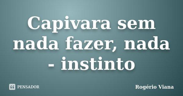 Capivara sem nada fazer, nada - instinto... Frase de Rogério Viana.