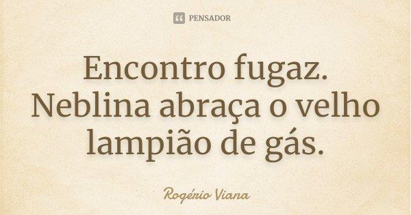 Encontro fugaz. Neblina abraça o velho lampião de gás.... Frase de Rogério Viana.