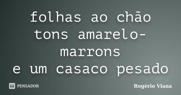 folhas ao chão tons amarelo-marrons e um casaco pesado... Frase de Rogério Viana.