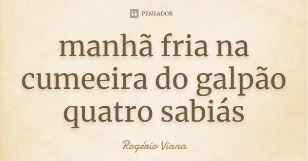 manhã fria na cumeeira do galpão quatro sabiás... Frase de Rogério Viana.