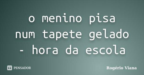 o menino pisa num tapete gelado - hora da escola... Frase de Rogério Viana.