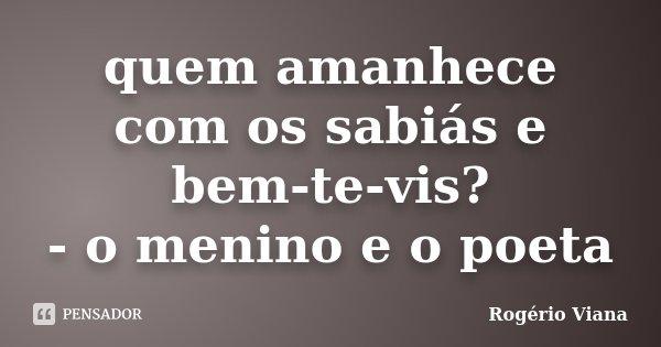 quem amanhece com os sabiás e bem-te-vis? - o menino e o poeta... Frase de Rogério Viana.