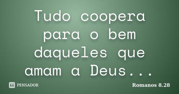 Tudo coopera para o bem daqueles que amam a Deus...... Frase de Romanos 8:28.