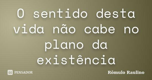 O sentido desta vida não cabe no plano da existência... Frase de Rômulo Raulino.