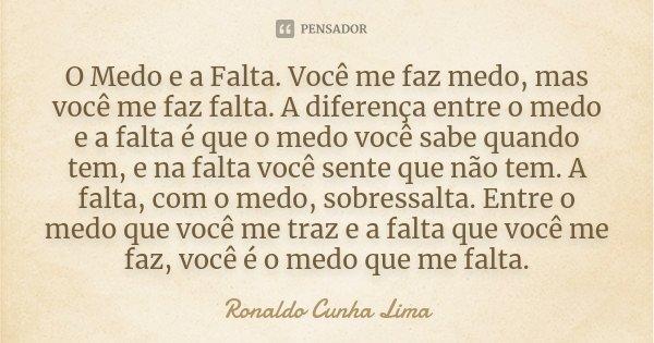 O Medo E A Falta. Você Me Faz Medo, Mas... Ronaldo Cunha Lima