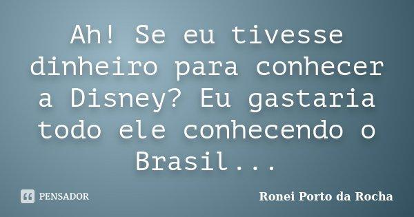 Ah! Se eu tivesse dinheiro para conhecer a Disney? Eu gastaria todo ele conhecendo o Brasil...... Frase de Ronei Porto da Rocha.