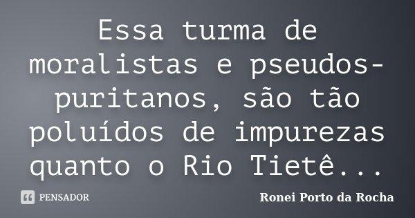 Essa turma de moralistas e pseudos-puritanos, são tão poluídos de impurezas quanto o Rio Tietê...... Frase de Ronei Porto da Rocha.