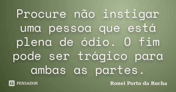 Procure não instigar uma pessoa que está plena de ódio. O fim pode ser trágico para ambas as partes.... Frase de Ronei Porto da Rocha.