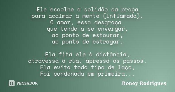 Ele escolhe a solidão da praça para acalmar a mente (inflamada). O amor, essa desgraça que tende a se envergar, ao ponto de estourar, ao ponto de estragar. Ela ... Frase de Roney Rodrigues.