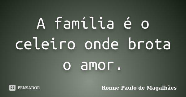 A família é o celeiro onde brota o amor.... Frase de Ronne Paulo de Magalhães.
