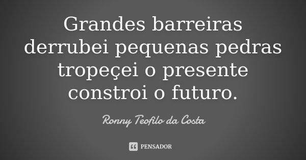 Grandes barreiras derrubei pequenas pedras tropeçei o presente constroi o futuro.... Frase de Ronny Teofilo da Costa.