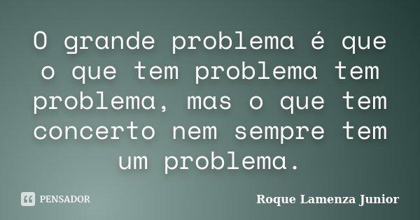 O grande problema é que o que tem problema tem problema, mas o que tem concerto nem sempre tem um problema.... Frase de Roque Lamenza Junior.