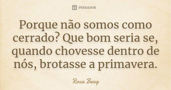 Porque não somos como cerrado? Que bom seria se, quando chovesse dentro de nós, brotasse a primavera.... Frase de Rosa Berg.