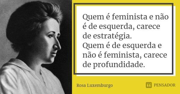 Quem é Feminista e não é de Esquerda, carece de estratégia. Quem é de Esquerda e não é Feminista, carece de profundidade.... Frase de Rosa Luxemburgo.
