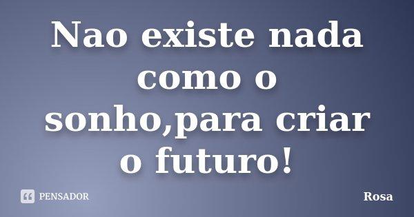 Nao existe nada como o sonho,para criar o futuro!... Frase de Rosa.