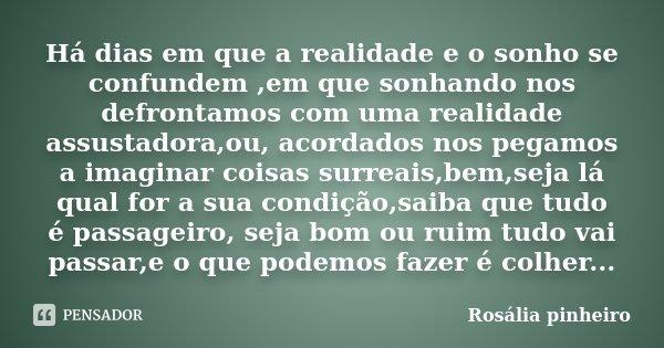 Há dias em que a realidade e o sonho se confundem ,em que sonhando nos defrontamos com uma realidade assustadora,ou, acordados nos pegamos a imaginar coisas sur... Frase de Rosália Pinheiro.