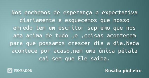Nos enchemos de esperança e expectativa diariamente e esquecemos que nosso enredo tem um escritor supremo que nos ama acima de tudo ,e ,coisas acontecem para qu... Frase de Rosália Pinheiro.