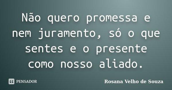 Não quero promessa e nem juramento, só o que sentes e o presente como nosso aliado.... Frase de Rosana Velho de Souza.