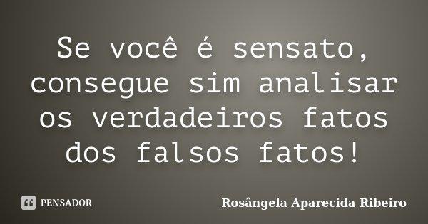 Se você é sensato, consegue sim analisar os verdadeiros fatos dos falsos fatos!... Frase de Rosângela Aparecida Ribeiro.