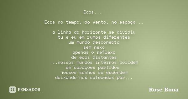 Ecos... Ecos no tempo, ao vento, no espaço... a linha do horizonte se dividiu tu e eu em rumos diferentes um mundo desconecto sem nexo apenas o reflexo de ecos ... Frase de Rose Bona.