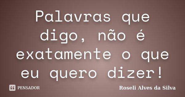 Palavras que digo, não é exatamente o que eu quero dizer!... Frase de Roseli Alves da Silva.