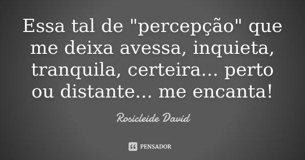 """Essa tal de """"percepção"""" que me deixa avessa, inquieta, tranquila, certeira... perto ou distante... me encanta!... Frase de Rosicleide David."""