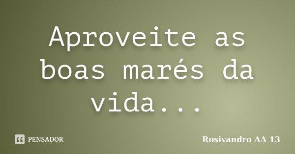 Aproveite as boas marés da vida...... Frase de Rosivandro AA 13.