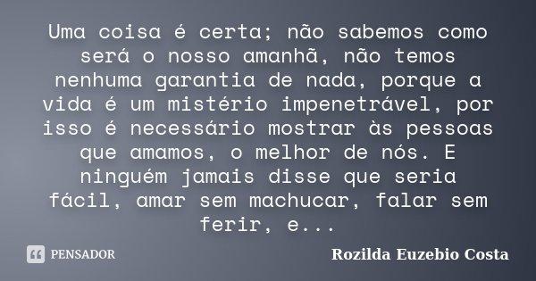 Uma coisa é certa; não sabemos como será o nosso amanhã, não temos nenhuma garantia de nada, porque a vida é um mistério impenetrável, por isso é necessário mos... Frase de Rozilda Euzebio Costa.