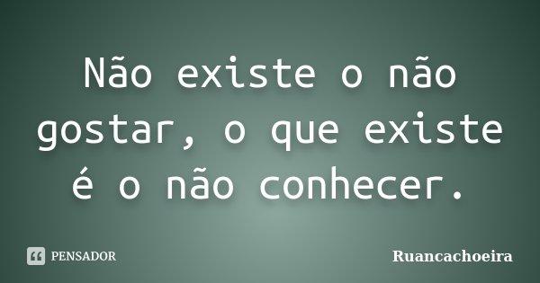 Não existe o não gostar, o que existe é o não conhecer.... Frase de Ruancachoeira.
