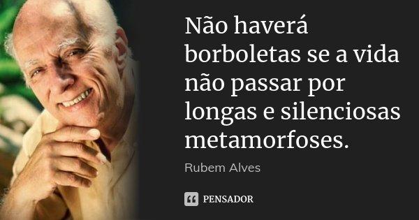 Não haverá borboletas se a vida não passar por longas e silenciosas metamorfoses.... Frase de Rubem Alves.