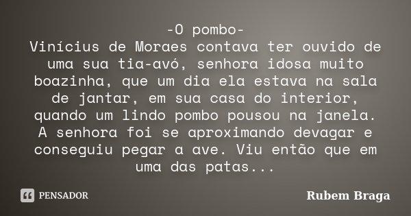 -O pombo- Vinícius de Moraes contava ter ouvido de uma sua tia-avó, senhora idosa muito boazinha, que um dia ela estava na sala de jantar, em sua casa do interi... Frase de Rubem Braga.