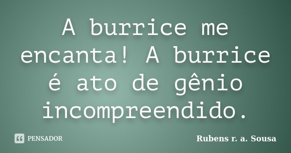 A burrice me encanta! A burrice é ato de gênio incompreendido.... Frase de Rubens r. a. Sousa.