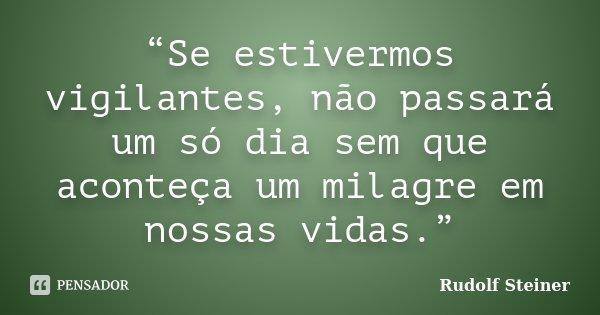 """""""Se estivermos vigilantes, não passará um só dia sem que aconteça um milagre em nossas vidas.""""... Frase de Rudolf Steiner."""