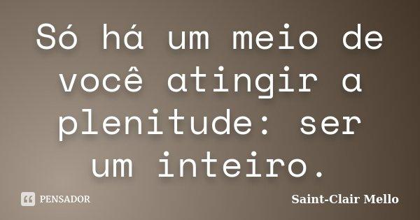 Só há um meio de você atingir a plenitude: ser um inteiro.... Frase de Saint-Clair Mello.