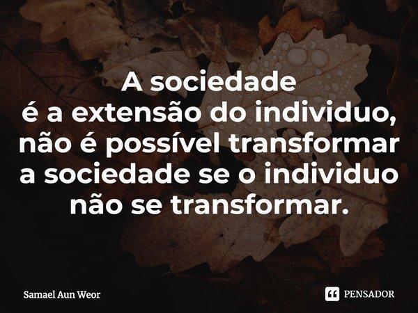 A sociedade é a extensão do individuo, não é possível transformar a sociedade se o individuo não se transformar.... Frase de Samael Aun Weor.